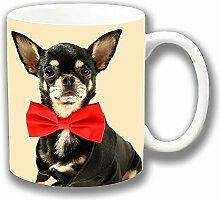 Chihuahua Schwarz Hellbraun Tragend Rot Fliege Foto Druck Keramik Tee Kaffee Tasse Einzigartige Geschenkidee