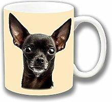 Chihuahua Schwarzer Hund Große Close-up Kopf Foto Aufdruck Keramik Tee-/ Kaffeetasse Einzigartige Geschenkidee