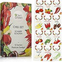 Chili Samen Set mit 12 Sorten Chilisamen für