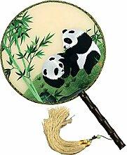 China Kultur Shu Bestickt Fan Seide Palace Stickerei Handwerk Doppelseitiges Ventilator Verziert Dekoration Geschenke Feine Kunst Schätze,A