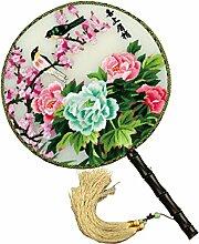 China Kultur Shu Bestickt Fan Seide Palace Stickerei Handwerk Doppelseitiges Ventilator Verziert Dekoration Geschenke Feine Kunst Schätze,F