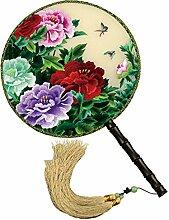 China Kultur Shu Bestickt Fan Seide Palace Stickerei Handwerk Doppelseitiges Ventilator Verziert Dekoration Geschenke Feine Kunst Schätze,E