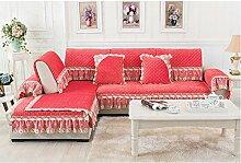 China Palaeowind High-End, Luxus, Sofakissen, Stoff, Europäisch, Rutschfest, Kurze Plüsch, Sofa,Pink-110*210