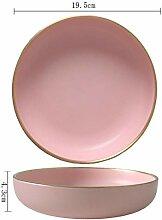 China Porzellanteller Feste Rosa Keramik Platte