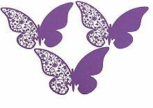 chinatera 50PCS Schmetterling Ausschnitt Place Escort Hochzeit Party Wein Glas Papier Karten, violett, 11*7cm