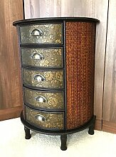 Chinesische 5Schublade Dunkles Holz Stauraum Schrank Orientalische Möbel Redwood