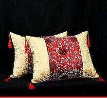 Chinesische Antik Mahagoni/Auto Bett Möbel Sofa Kissen/Kissen/Kissen/ back Lordosenstütze/ Kissen-A 45x45cm(18x18inch)