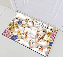 Chinesische Art Badematte Blume, Weißer Stein,