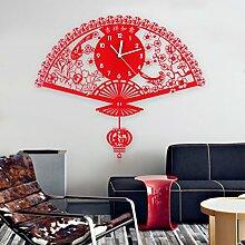 Chinesische Art-kreative Wand-Taktgeber-Wohnzimmer-hängende Tabelle Moderne Einfache Uhr Stumm-Quarz-Uhr-Ventilator-Kunst-Taktgeber,A2