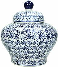 Chinesische Deckelvase mit blauen Ornamenten
