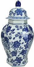 Chinesische Deckelvase mit Blumendekor