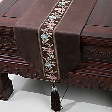 Chinesische einfache Tischl?ufer/Moderne europ?ische Garten Tischdecke/Tetabellentuch/Bett-banner/Bett-Tücher-E 33x230cm(13x91inch)