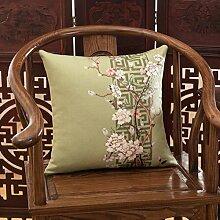 Chinesische Holz Sofakissen Europäische Baumwolle Kissen Bett Kissen Bett Kissen Lendenkissen-C 45x45cm(18x18inch)VersionA