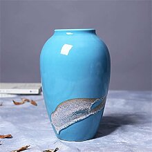 Chinesische Keramik Aqua Vase Kiln Blume Stil Wohnzimmer TV Schrank Tischdekoration Hochtemperatur Brennen Keramik Vase