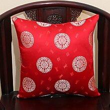 Chinesische klassische Kissen/Sofakissen pastoral/Büro Lendenkissen/Bett Rückenlehne-O 60x60cm(24x24inch)VersionA