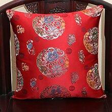 Chinesische klassische Kissen/Sofakissen pastoral/Büro Lendenkissen/Bett Rückenlehne-C 50x50cm(20x20inch)versionA