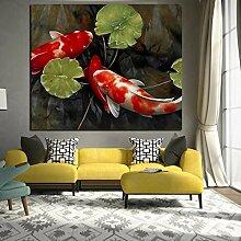 Chinesische Koi Fisch Lotus Leinwand Feng Shui