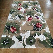 Chinesische Lotus-Blume handgemachte Wollteppiche/Das Schlafzimmer Teppich Wohnzimmer Sofa-A 160x230cm(63x91inch)