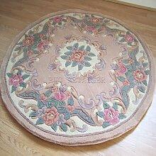 Chinesische rund/Kreis Teppich, Wolle in Beige