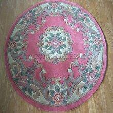 Chinesische rund/Kreis Teppich, Wolle in rose pink
