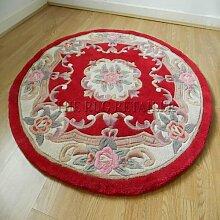 Chinesische rund/Kreis Teppich, Wolle in rot