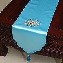 Chinesische Stickerei Garten Tischl?ufer/ischdecke / Tischdecken / Tischabdeckung/Tetabellentuch/Bett-banner/Z?hler-Flagge-A 33x230cm(13x91inch)