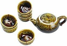 Chinesische Teekanne Set mit 6 Teetassen Goldgelb