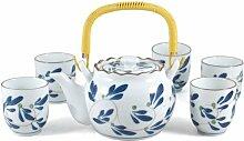Chinesische Teekanne und 5 Tassen, Blumenmuster,
