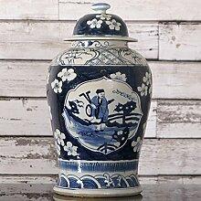 Chinesische Vase Deckelvase Landschaftsmotive