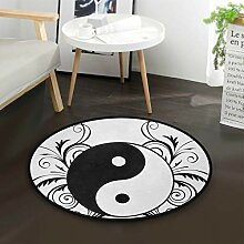 Chinesische Ying Yang Tao Zen Blume Runde Teppich