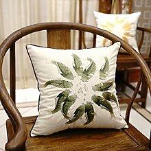 Chinesischen Stil Baumwolle Sofa Wurfkissen/Bedside Kissenbezug/Büropolster-C 45x45cm(18x18inch)VersionA
