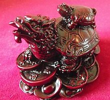 Chinesischer Feng Shui Drache Schildkröte (mittel) gut für Karriere (rot Harz)