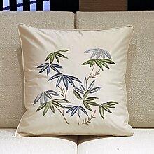 Chinesischer Garten Bambus bestickte Kissen Seide und chemische Faser-Kissen Pflanzen der Sofakissen-B 45x45cm(18x18inch)VersionA