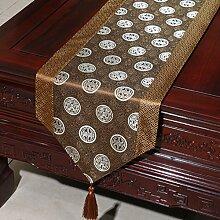 Chinesischer Garten Tischl?ufer/ischdecke / Tischdecken / Tischabdeckung/Tetabellentuch/Bett-banner/Z?hler-Flagge/Tischmatte/Lange Tischdecken-D 33x230cm(13x91inch)