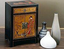 Chinesischer Nachtschrank schwarz gold Geisha chinesische Kommode Schrank Hochzeitsschrank