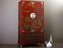 Chinesischer Schrank Rot Gold Hochzeitsschrank Kunstleder