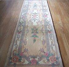 Chinesischer Teppich, Wolle in Beige Handgefertigt