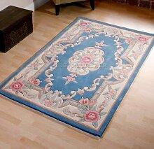 Chinesischer Teppich, Wolle in Blau Handgefertigt