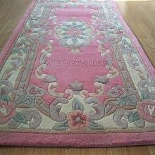 Chinesischer Teppich, Wolle in rose pink handgefertigt Traditionelles Aubusson-Design–Flur Läufer 65x 210cm