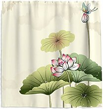 Chinoiserie Lotosblume Duschvorhang mit