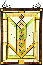 Chloe Lighting Tiffany-Glas-Fensterpaneel, 18 x 24