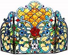 Chloe Tiffany Klappbarer Kaminschirm aus Glas,