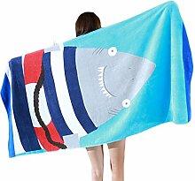 Chlove Erwachsene Strandtuch Hai Gedruckt Strandmatte Quadratisch Badetuch für Reisen Camping