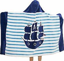 Chlove Kinder Strandtuch Korsar Gedruckt Strandmatte Quadratisch Streifen Badetuch mit Kapuze für Reisen Camping