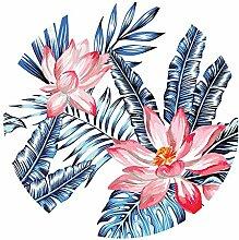 Chlove Runde Strandtuch Blätter Blumen Gedruckt Strandmatte Badetuch Yogamatte für Reisen Camping Rot Grün