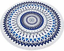 Chlove Runde Strandtuch Geometrie Gedruckt Strandmatte Badetuch Yogamatte für Reisen Camping Weiß Blau
