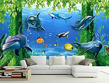 Chlwx 200cmX150cm (78.7inX55.115in) 3D Wallpaper Tv Hintergrund 3D Ocean Wallpaper Wandbild Fenster Rose Home Dekoration 3D Dolphin Wallpaper