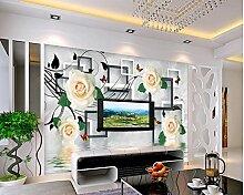 Chlwx 300cmX200cm (118.1inX78.397in) 3D Wandbild Tapeten Tv-Kulisse Sofa White Rose Reflexion Wandbild Tapeten Home Decoration