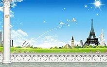 Chlwx 350cmX240cm (137.8inX94.207in) 3D Fototapete Wandbild Wohnzimmer Turm Grünland 3D Malerei Sofa Tv Hintergrund Wand Tapete 3D-Aufkleber