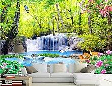 Chlwx 350cmX240cm (137.8inX94.257in) Papier De E Stereoskopischen 3D-Wallpaper Wald Wasserfall Landschaft 3D Wandbild Tapete 3D Fototapete Für Die Decke